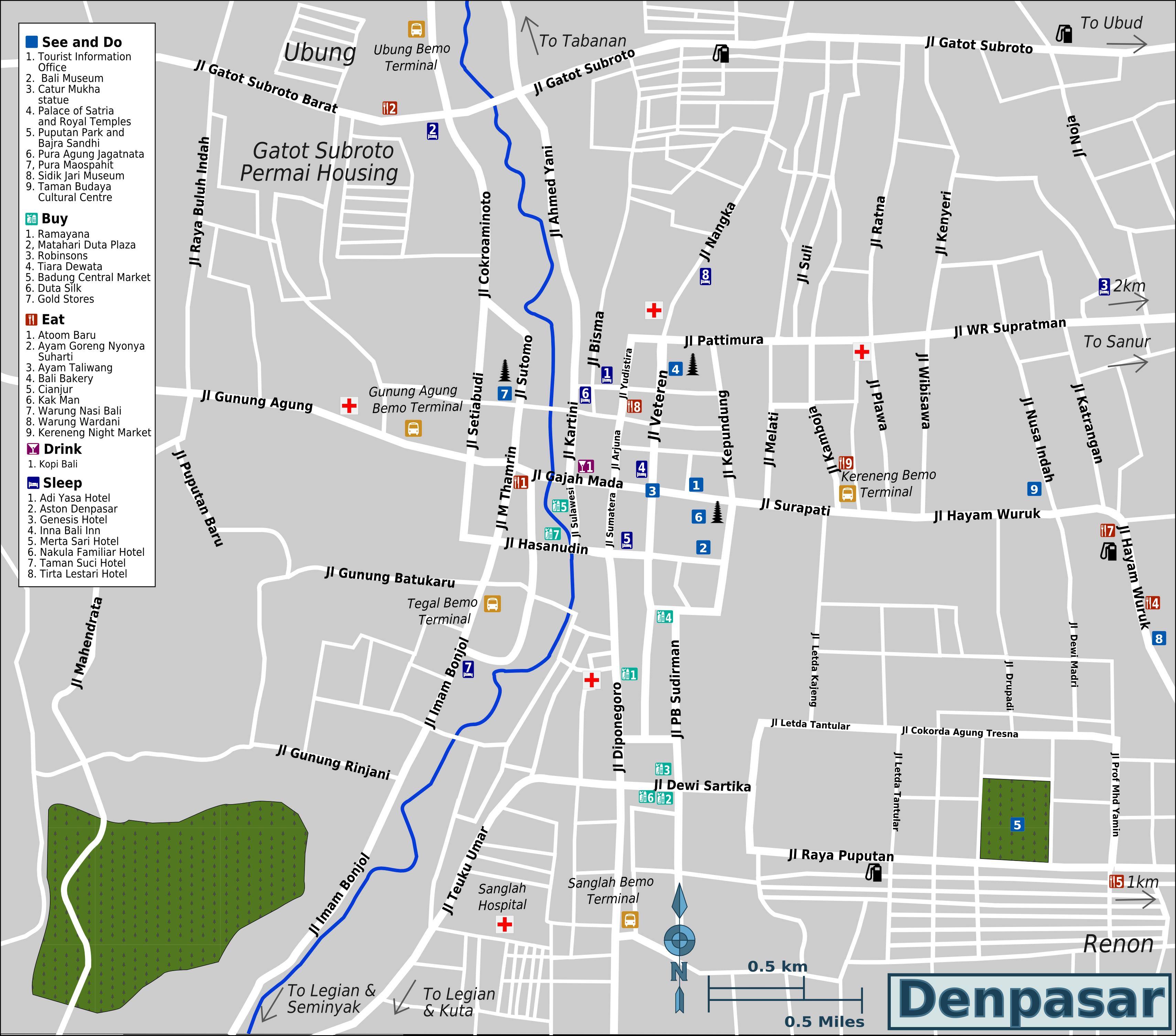 Kaartje van Denpasar, 30 minuten vanaf het appartement in Sanur op Bali