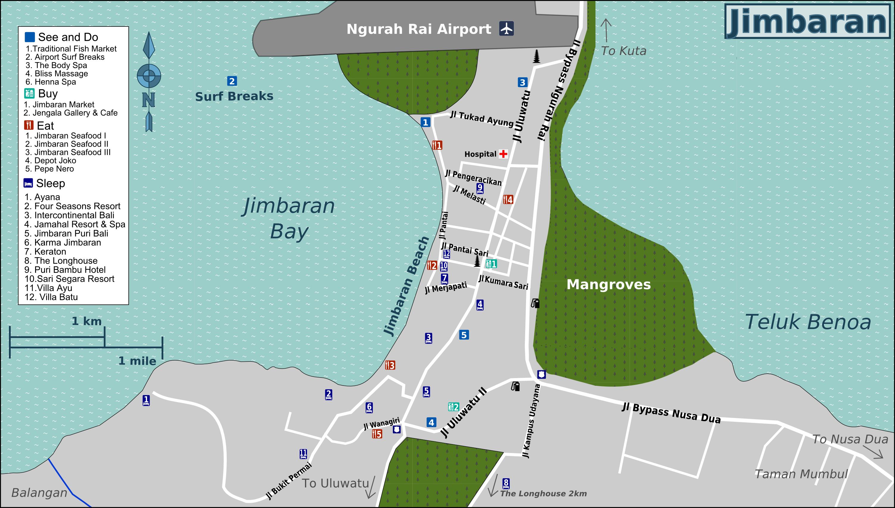Kaartje van Jimbaran, 30 minuten vanaf het appartement in Sanur op Bali