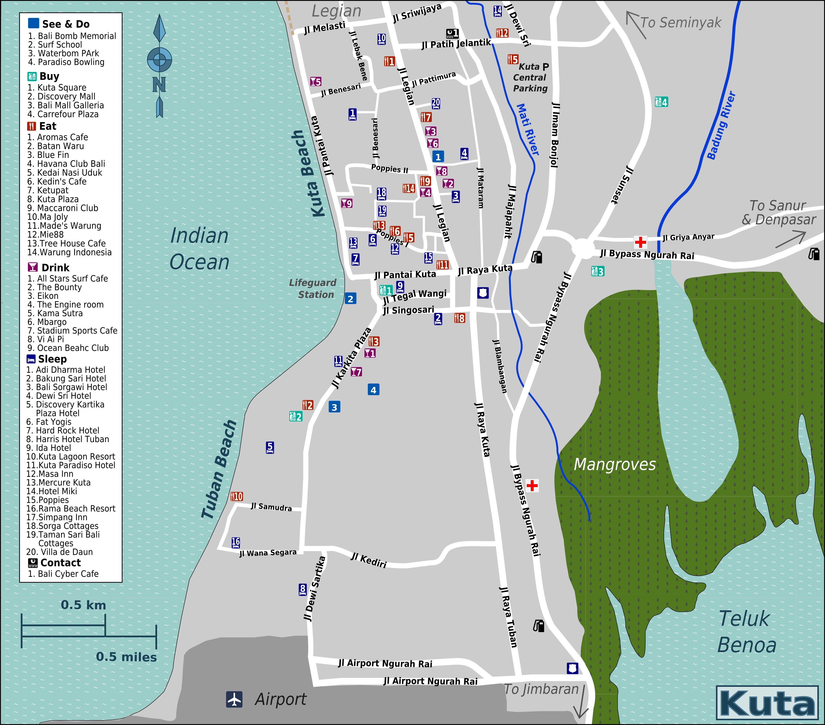 Kaartje van Kuta, 45 minuten vanaf het appartement in Sanur op Bali
